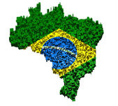 Brazilian flag mounted with blocks over the country boundary — Stock Photo