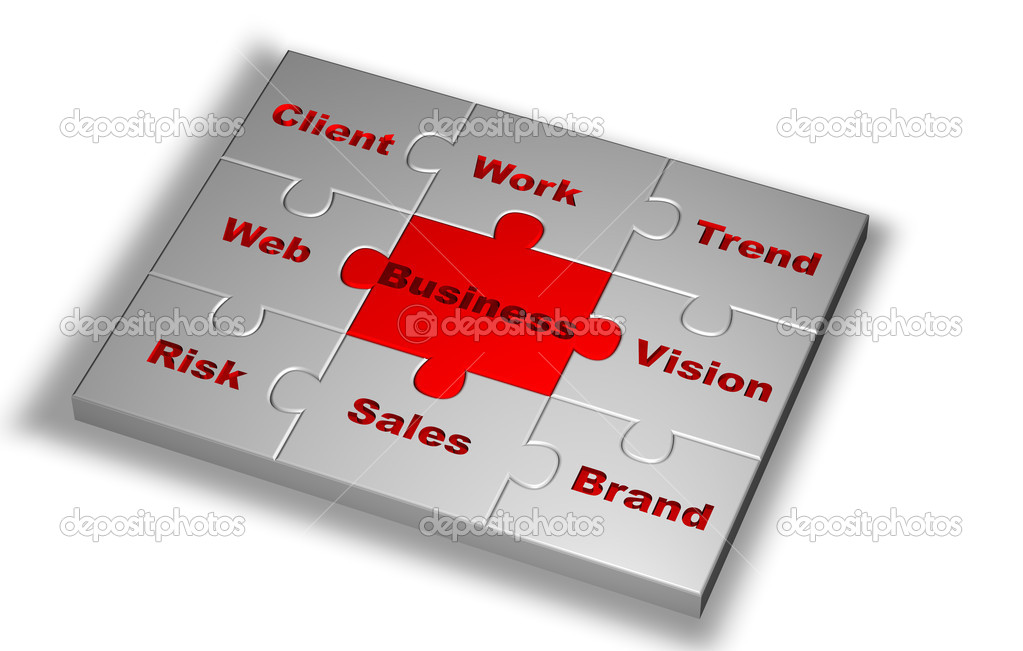 Puzzle in grey color with Business word highlight in red and other words related — Stock Photo #6395140