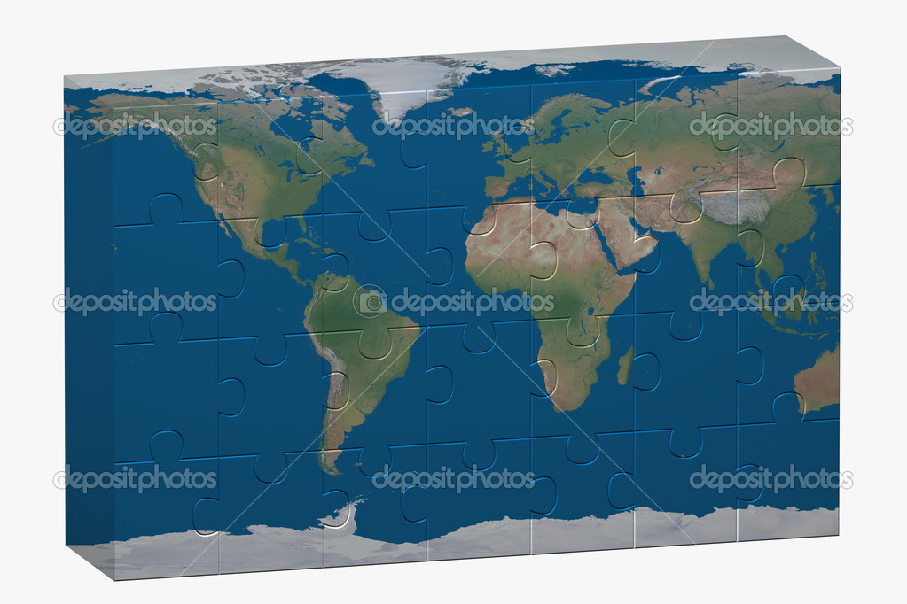 Puzzle of World image over a white background — Stock Photo #6395207