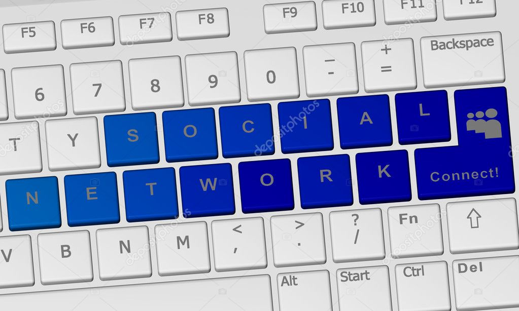 Keyboard with connect word inside a blue key — Stock Photo #6399084