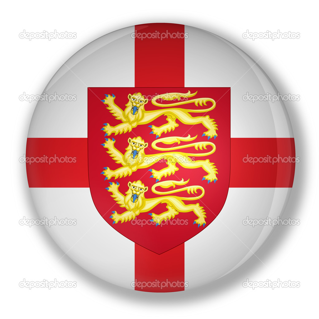 Illustration of a badge with flag and the royal coat of england with shadow — Stock Photo #6464865