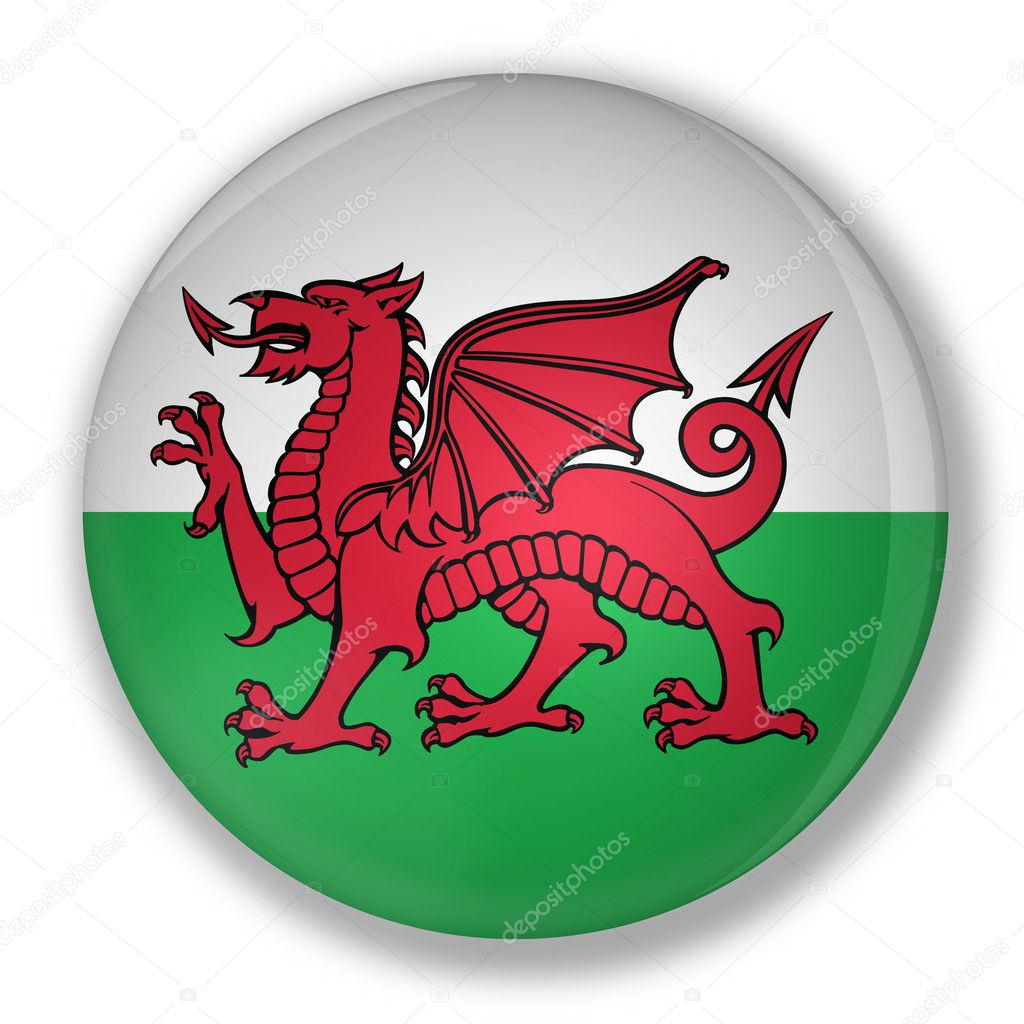 Illustration of a badge with flag of wales with shadow — Stock Photo #6473960