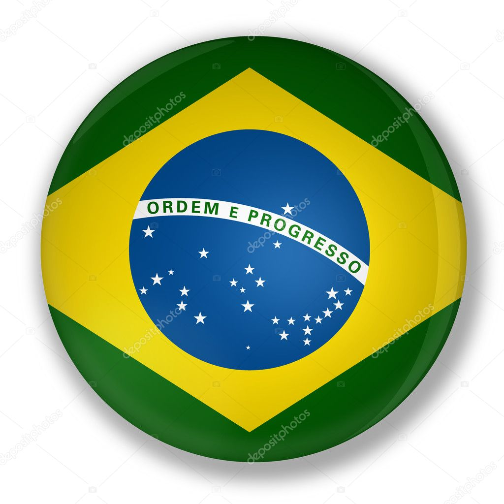 Illustration of a badge with flag of brazil with shadow — Stock Photo #6473967