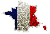 Illustration of france with flag and blocks — Stock Photo
