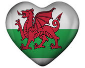 Heart with flag of wales — Stock Photo
