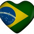 Stock Photo: Heart with flag of brazil