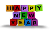 Cubes with happy new year words — Stock Photo