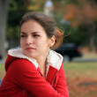 Beautiful girl in autumn park — Foto de Stock