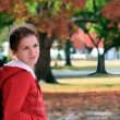 Beautiful girl in autumn park — Stock Photo