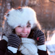 Stock Photo: Young woman in winter outwear