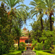 English gardens of the Alcazar Palace - 图库照片