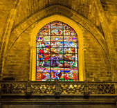 Stained-glass window in La Giralda — Stock Photo