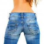 ragazza in jeans blu — Foto Stock