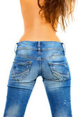 Girl in blue jeans — Stock Photo