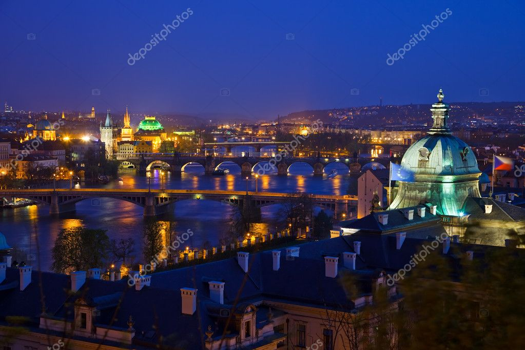 Prague bridges at night, Czech Republic, 2009 — Stock Photo #6016491