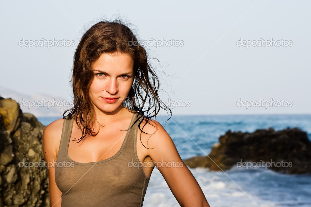 Outdoor portrait of beautiful young woman  Stock Photo #6093801