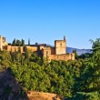 Alhambra at sunset, Granada, Spain - Stock Photo