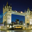 Tower Bridge at night, London - Stok fotoğraf
