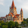 Foto Stock: Church on Danube River, Vienna