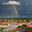 Rainbow over Niederrad, Frankfurt — Stock Photo