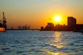 Sunset in the port of Hamburg — Stock Photo