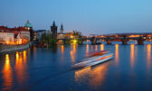 The Charles bridge at night, Prague — Stock Photo