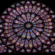 Stained glass window in Notre dame - Stock Photo