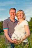 Zwangere paar in het park — Stockfoto