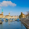 Zurich from Limmat river — Stock Photo