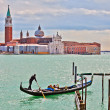 Gondolier in front of SGiorgio Maggiore — Stock Photo #6365955
