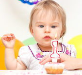 Little girl celebrating first birthday — Stock Photo