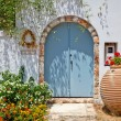 Entrance to greek house - Stock Photo