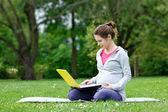 Zwangere vrouw met laptop — Stockfoto