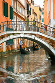 Gondolas on canal in Venice — Stock Photo