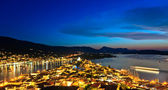Greek island Poros at night — Stock Photo