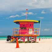 Lifeguard stand, South Beach, Miami, Florida — Stock Photo