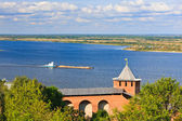 View on Volga river from Nizhny Novgorod Kremlin, Russia — Stock Photo
