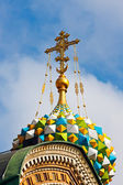 Golden cross of russian orthodox church — Stock Photo