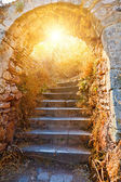Old stone stairways to the Palamidi fortress — Stock Photo