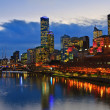 Downtown of Melbourne at night, Yarra river — Stock Photo