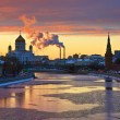 Sunset over Moscow river — Stock Photo