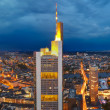 Panoramic view of Frankfurt am Main at dusk - Stok fotoğraf