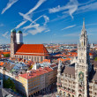 Aerial view of Munchen: Marienplatz, New Town Hall and Frauenkirche — Stock Photo #6717274
