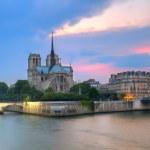 ノートルダム ・ ド ・ パリ夕暮れ — ストック写真