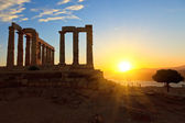 Rovine del tempio di poseidon, capo sounion, grecia — Foto Stock