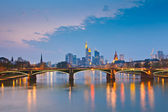 Frankfurt am Main at dusk, Germany — Stock Photo
