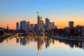 Frankfurt am Main at dusk — Stock Photo
