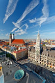 Aerial view of Munchen: Marienplatz, New Town Hall and Frauenkirche — Stock Photo
