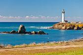 Güvercin california kıyısında deniz feneri üzerine gelin — Stok fotoğraf