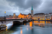 Zurich at dusk — Stock Photo